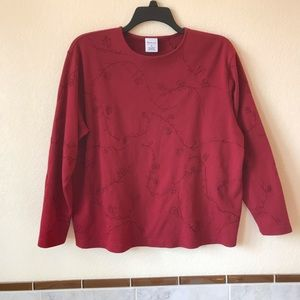 Womens Burgundy Long Sleeve Cotton Top Embroidered